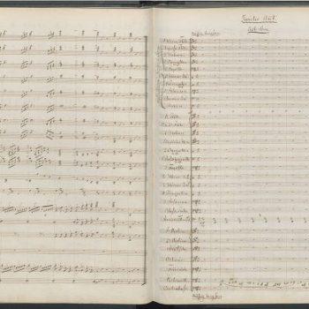 """Seite 108 und 109 der Partitur-Handschrift des """"Lohengrin"""""""