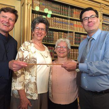 Foto (v. l. n. r.): GMD Christian Thielemann, Dr. Hannah Jo Smith, Dr. Anita Breckbill, Dr. Sven Friedrich; Foto: Michael Weiser