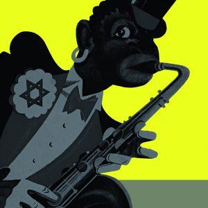 Karikatur: Das Titelmotiv der die Ausstellung 1938 begleitenden Broschüre von Hans Severus Ziegler