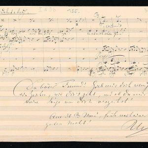 Notenblatt mit Brief Richard Wagners