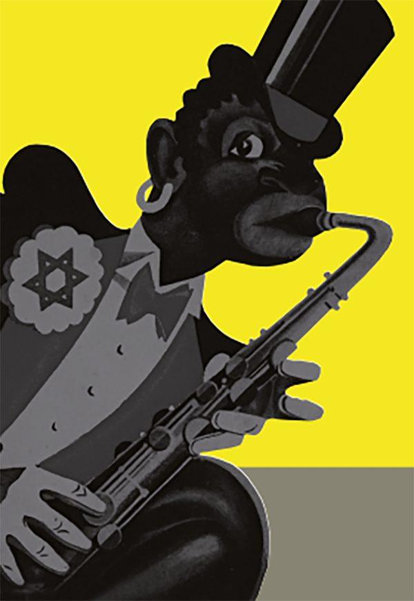 Karikatur: Das Titelmotiv der die Ausstellung 1938 begleitenden Broschüre von Hans Severus Ziegler.