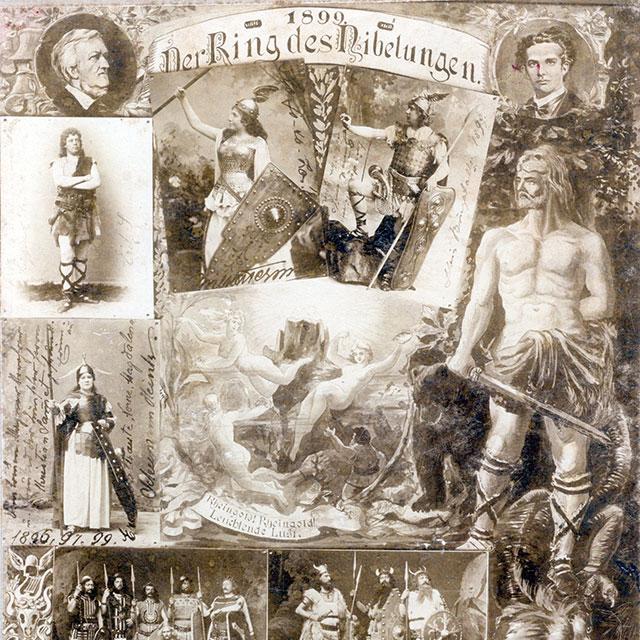 """Collage aus Fotos und Zeichnungen zum """"Ring des Nibelungen"""" 1899"""