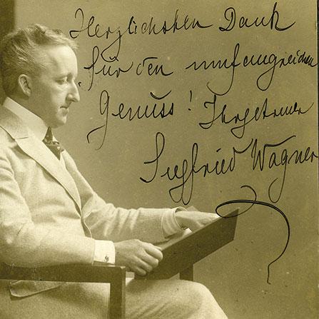 Foto von Siegfried Wagner mit handschriftlichem Gruß von ihm, um 1920