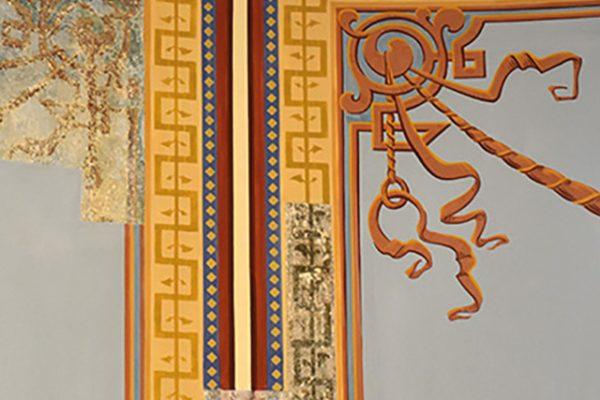 Foto von einer rekonstruierten Wandbemalung im Treppenhaus von Haus Wahnfried