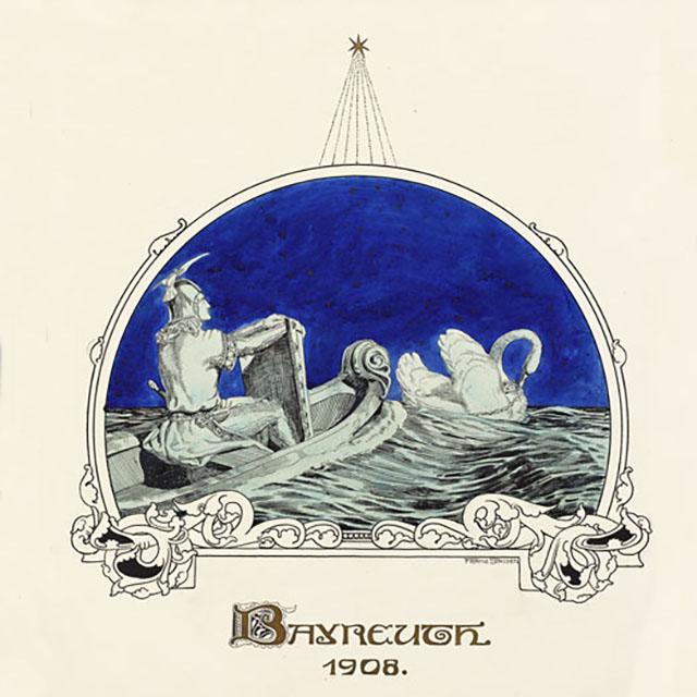 Zeichnung: Lohengrin im von einem Schwan gezogenen Boot, Franz Stassen, 1908.