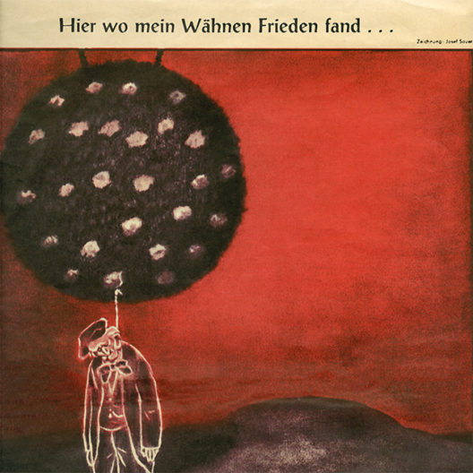 """Karikatur: Der Geist Richard Wagners erhängt sich aus Gram über die Inszenierung im Bühnenbild der """"Meistersinger"""" von Wieland Wagner 1956"""