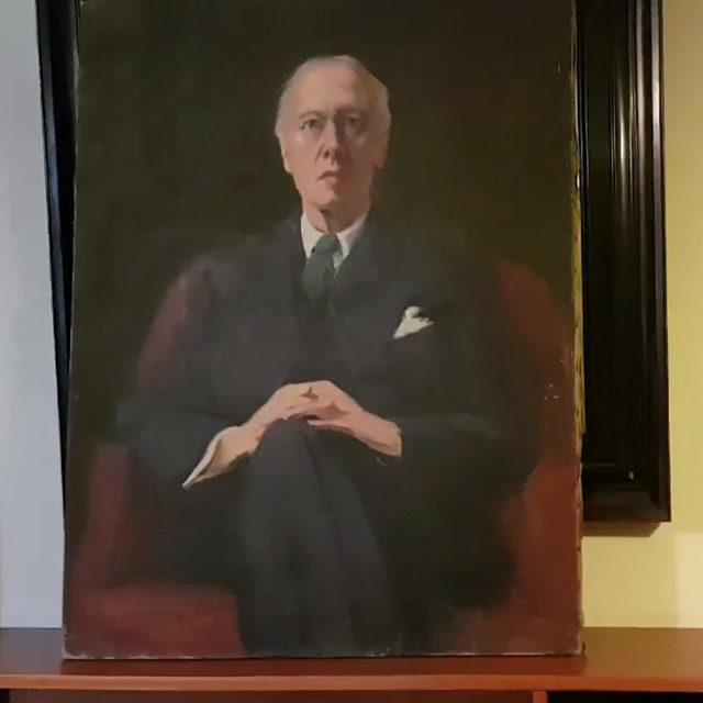 Foto: Porträt Houston Stewart Chamberlains in der Bibliothek im Chamberlainhaus in Bayreuth