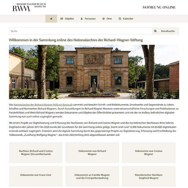 """Screenshot: Startseite der """"Sammlung online"""" © Nationalarchiv der Richard-Wagner-Stiftung, Bayreuth"""