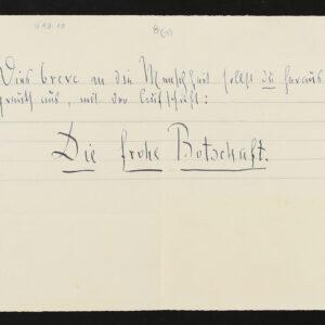 """Digitalisat sog. """"Wahnsinnszettel"""" von Friedrich Nietzsche an Cosima Wagner, 3. Januar 1889 © Nationalarchiv der Richard-Wagner-Stiftung, Bayreuth"""